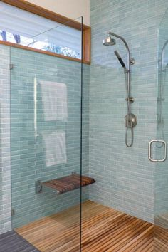 blue tile shower design shower tile interior design subway tile handcrafted tile Stellar Collection by Sonoma Tilemakers Beach House Bathroom, Bathroom Floor Tiles, Simple Bathroom, Master Bathroom, Bathroom Ideas, Bathroom Tile Showers, Ocean Bathroom, Shiplap Bathroom, Rental Bathroom