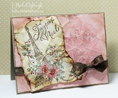 Distressed Joyeux Noel card with pink background