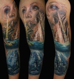 Abstract Tattoo Eyes - Waterfall