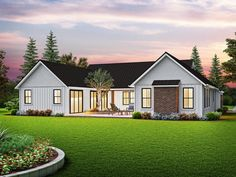 This modern farmhouse exterior gives you a chic front porch. Inside, the open layout feels modern and bright. Questions? Call 1-800-447-0027 today. #architect #architecture #buildingdesign #homedesign #residence #homesweethome #dreamhome #newhome #newhouse #foreverhome #interiors #archdaily #modern #farmhouse #house #lifestyle #designer Clapboard Siding, American Houses, Contemporary Style Homes, Contemporary Design, Modern Farmhouse Plans, Best House Plans, Build Your Dream Home, Modern Bedroom, House Design