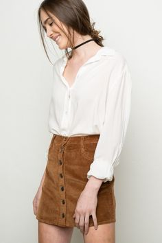 Brandy ♥ Melville   Nanna Corduroy Skirt - Bottoms - Clothing