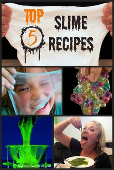 The top 5 slime recipes for kids.  Halloween slime recipes for haunted houses, classroom parties, Halloween parties or just an ooey-gooey good time.