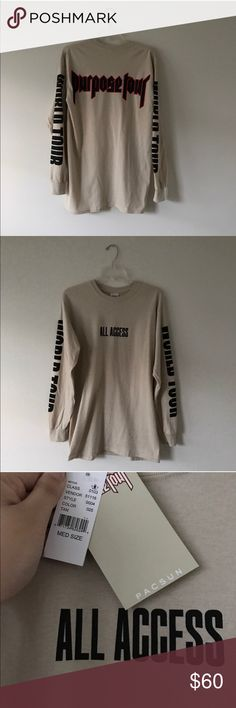 Justin Bieber Purpose Tour Long Sleeve Tee Pacsun NWT Justin Bieber Purpose Tour Long Sleeve Shirt - All Access from Pacsun, all sold out! Size M (Men's) PacSun Shirts Tees - Long Sleeve