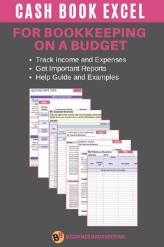 Cash Book In Excel For Tracking Income And Expenses Small Business Bookkeeping Business Budget Template Bookkeeping Business
