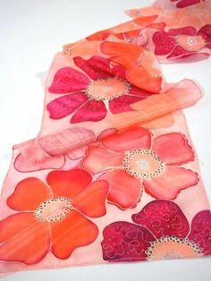 Pañuelo de seda a mano pintado rosa flores bufanda por silkiness