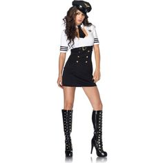 First Class Captain Adult Costume ($35) ❤ liked on Polyvore featuring costumes, costume, halloween costumes, neck ties, thin white belt, polish costume, sexy adult costumes and sexy captain costume