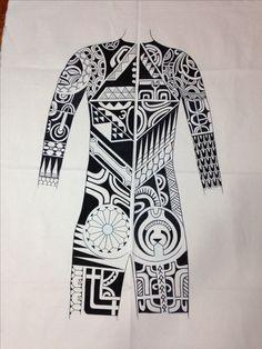 Marquesan tattoo bodysuit design.