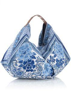 Paisley Slouchy Banana Bag | Blue | Accessorize no pattern