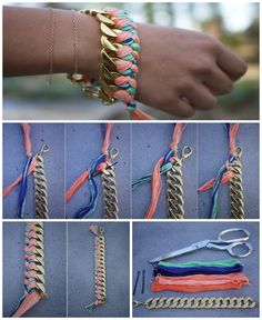 DIY Woven chain bacelet, look's really cute :3, pics from honestly...wtf