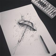 Umbrella Watercolor Tattoo