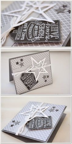 white grey home: Xmas Karte Calkboard Stampin Up Christmas, Christmas Crafts, Stampin Up Weihnachten, Karten Diy, Star Cards, Bee Cards, Parchment Craft, Fathers Day Cards, Paper Cards