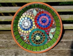 Flower Garden Stained Glass Mosaic Bird Bath by Schilltill on Etsy, $145.00