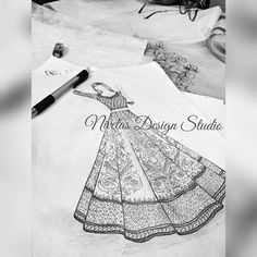 Custom Handmade Bridals From India Fashion Design Books, Fashion Design Sketchbook, Fashion Design Drawings, Fashion Sketches, Fashion Drawing Dresses, Fashion Illustration Dresses, Fashion Illustrations, Dress Design Sketches, Sketch Design