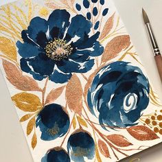 Some blues & metallics on this almost breezy kind of weekend ✨ ✔️Paper: 400 series watercolor pad ✔️Paint: Cotman & Finetec (Bronze & Gold) ✔️Brush: locally bought brush . Watercolor Projects, Watercolour Painting, Watercolor Flowers, Painting & Drawing, Watercolors, Botanical Art, Botanical Illustration, Illustration Art, Illustrations