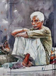 54 Watercolor Paintings By Indian Artist Rajkumar Sthabathy Watercolor Portrait Tutorial, Acrylic Portrait Painting, Watercolor Portraits, Portrait Art, Watercolor Art, Watercolor Paintings For Beginners, Composition Art, Art Village, Indian Folk Art