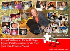 Mothers Day Photo Collage Puzzle. What alovely surprise for mom. Let us create a unique Mothers Day Collage Puzzle for your mom this Mothers Day. Jigsaw2order.com