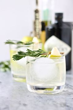 Pear Gin Cocktails... Hendricks gin, St Germain elderflower, pear juice, rosemary