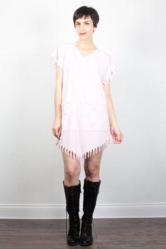 Vintage 80s Dress FRINGE Trim Mini Dress 1980s Dress Pale Pink Tshirt Dress Cut Up Shredded T Shirt Dress Beach Sundress OS S M L Medium by ShopTwitchVintage #1980s #80s #vintage #etsy #tshirt #dress #fringe