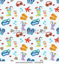 beach stuff #background by mhatzapa, via ShutterStock #vector #pattern