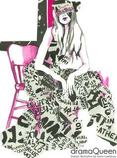 dramaQueen fashion illustration by Fanny Csefalvay