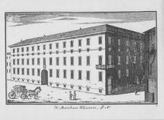 """Palazzo Olivazzi, via Bigli angolo via Manzoni, Milano. Marc'Antonio Dal Re, """"Vedute di Milano"""", incisione 54 (ca. 1745)."""
