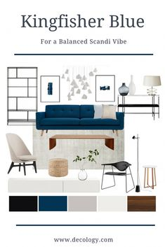 Scandi Blue- A beautiful statement chandelier steals the show in this elegant scandi inspired living room. Our interior designers have blended the retro style blue sofa seamlessly with contemporary sh Blue Couch Living Room, Navy Living Rooms, Scandi Living Room, Interior Design Living Room, Living Room Designs, Living Room Color Schemes, Room Colors, Retro Style, Create