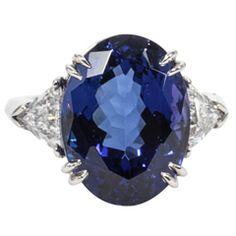 Rare Fine 13.15ct Tanzanite Diamond Ring set in Platinum