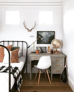 Boys bedroom with white walls, black metal bed frame and black . - Throw boy bedroom with white walls, black metal bed frame and black and white buffalo check throw. Vintage Boys Bedrooms, Tiny Bedrooms, Bedroom Vintage, Big Boy Bedrooms, Bedroom Rustic, Modern Bedroom, Modern Bedding, Luxury Bedding, Black Metal Bed Frame