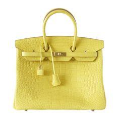 1dff2c7650a Hermes Birkin 35 Bag Matte Alligator Mimosa Gold Hardware Crazy Fabulous