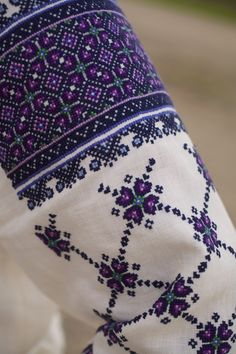 Hand Embroidered Blue and Purple Ukrainian Linen Blouse Polish Embroidery, Folk Embroidery, Cross Stitch Embroidery, Embroidery Patterns, Cross Stitch Charts, Cross Stitch Designs, Cross Stitch Patterns, Palestinian Embroidery, Purple Hands