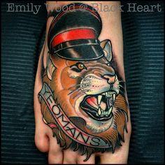 Lion tattoo by Emily Wood - Black Heart Tattoo Studio, Epsom, UK - Emily Wood, Black Heart Tattoos, Lion Tattoo, Tattoo Studio, Simple Lion Tattoo