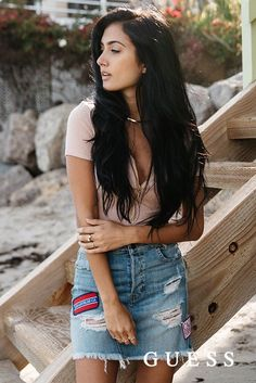 Blogger Racquel Natasha pulls together a '90s inspired look with her GUESS Patched Denim Miniskirt and zip-up bodysuit. Shop her laid back beach style here.  #LoveGUESS The Most Beautiful Girl, Gorgeous Women, Beautiful Outfits, Cool Outfits, Casual Outfits, Casual Clothes, Fashion 101, Ladies Fashion, Fashion Trends