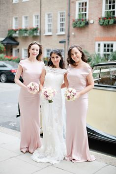 A sophisticated modern wedding at Claridges in London with Jenny Packham Esme and a Yolan Cris dress, dusky pink bridesmaid dresses and Jimmy Choo shoes