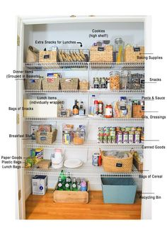 An easy guide to organizing food in a reach in pantry, with tips for bulk food storage for a large family