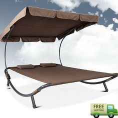 Outdoor Sun Lounger Patio Canopy Furniture Double Lounge Bed Garden Back Yard