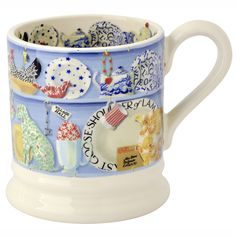 Emma Bridgewater blue dresser half pint mug decorated in a pattern designed for Sanderson as a fabric.