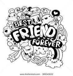Best friend forever friends sketch, drawings of friends, best friend sketches, kawaii doodles Doodle Art Name, Doodle Art Letters, Cute Doodle Art, Doodle Art Designs, Doodle Art Drawing, Doodle Art Journals, Easy Doodles Drawings, Bff Drawings, Drawings Of Friends