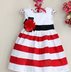 brand new baby girls red and white striped christmas dresses fashion childrens party wear d