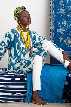 ibu Movement | Uzbek Ikat Silk Jacket with African Glass Beads and Vintage Indian Coin Necklace