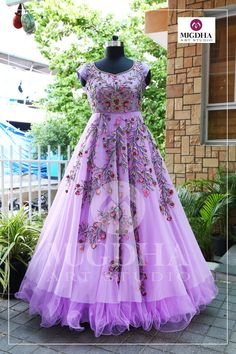 Beautiful long gown with gorgeous hand made design. They can customize the color and size as per your requirement Product code - MA- 134 To Order : whatsapp 9010906544 . Indian Wedding Gowns, Indian Gowns Dresses, Indian Long Gowns, Bridal Dresses, Long Dress Design, Stylish Dress Designs, Long Frocks For Girls, Party Wear Long Gowns, Long Gown Dress