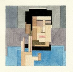 Spock. © Adam Lister. The Amazing Pixelated Watercolour Paintings of Adam Lister | Yatzer