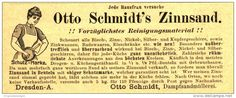 Original-Werbung/ Anzeige 1894 -  OTTO SCHMIDT'S ZINNSAND / DAMPFSANDMÜLLEREI SCHMIDT DRESDEN  - ca. 110 x  40 mm