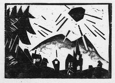 Lyonel Feininger, 2 Works: Gebirgsdorf & Sussenborn    Medium: woodcuts Creation Date: 1918 Dimensions: Larger 136x146 mm
