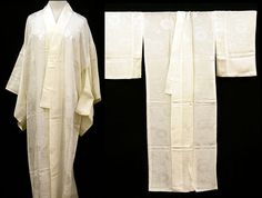 Japanese Vintage Silk authentic Kimono, Naga juban, White, #120204