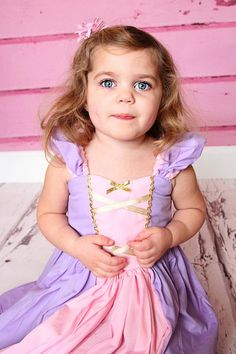 Items similar to RAPUNZEL costume dress princess dress for toddlers and girls fun for special occasion or birthday party costume on Etsy Robes Disney, Disney Dress Up, Disney Princess Dresses, Princess Outfits, Princess Rapunzel, Princess Party, Rapunzel Costume, Rapunzel Dress, Costume Dress