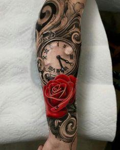 Time Hand Tattoos for Men . Time Hand Tattoos for Men . Pin On Tattoo Clock Tattoo Sleeve, Clock And Rose Tattoo, Forearm Sleeve Tattoos, Best Sleeve Tattoos, Tattoo Sleeve Designs, Tattoo Designs Men, Rose Tattoos For Women, Blue Rose Tattoos, Hand Tattoos For Guys
