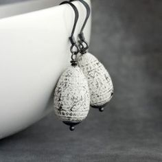 Vintage Lucite Earrings on Oxidized Sterling Silver