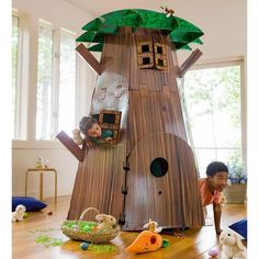 Big Tree Fort Hideaway - Imaginative Indoor Play For Kids, High - Hearthsong : Target Kids Indoor Play, Indoor Playroom, Fort Kit, Cardboard Playhouse, Cardboard Crafts, Cardboard Tree, Cardboard Fireplace, Cardboard Houses, Backyard Playhouse