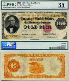 US 1882 $100 Gold Certificate FR-1214 CGA Graded EF40 In Gold Coin Note