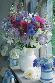 Garden Blooms in Cottage Window **